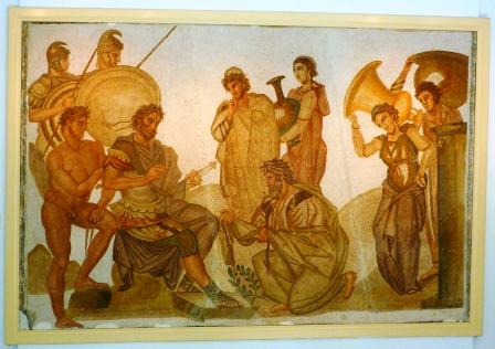 Chryses pleading with Agamemnon to release his daughter Chryseis